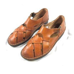 Born Women's Woven Brown Leather Sandals Sz 10